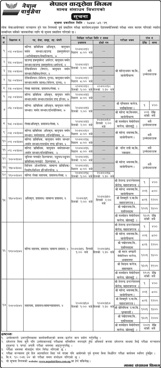 Exam Centers Announced for Engineering Jobs Vacancy