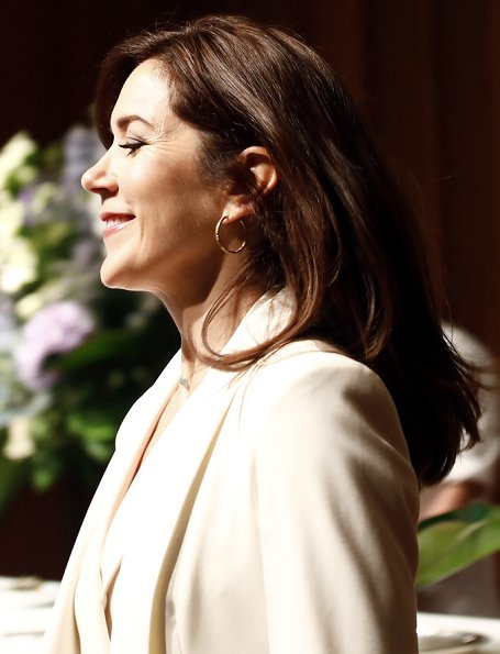 Crown Princess Mary is wearing an outfit by Max Mara. Princess wore Max Mara- silk panama jacket, and jumpsuit, trousers