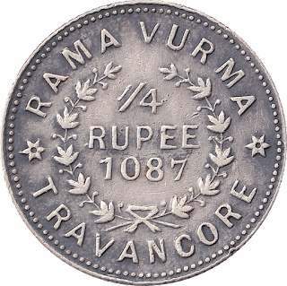 Legend Rama Vurma - Travancore, Quarter Rupee 1087