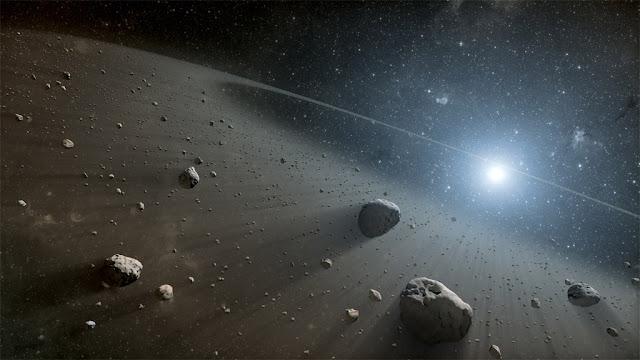 Ilustração artística de um cinturão de asteroides ao redor da estrela Vega - NASA - JPL-Caltech