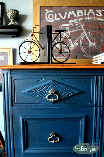 BEAUTIFUL BOHO BLUE ECLECTIC RESCUED DRESSER PAINTED MAKEOVER DIY BLOGGER