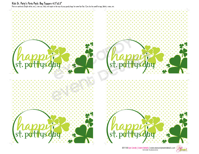 st patty's day toppers, kids st patty's day party pack, st patty's day party