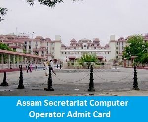 Assam Secretariat Computer Operator Admit Card   Download Assam Secretariat Call Letter 2017
