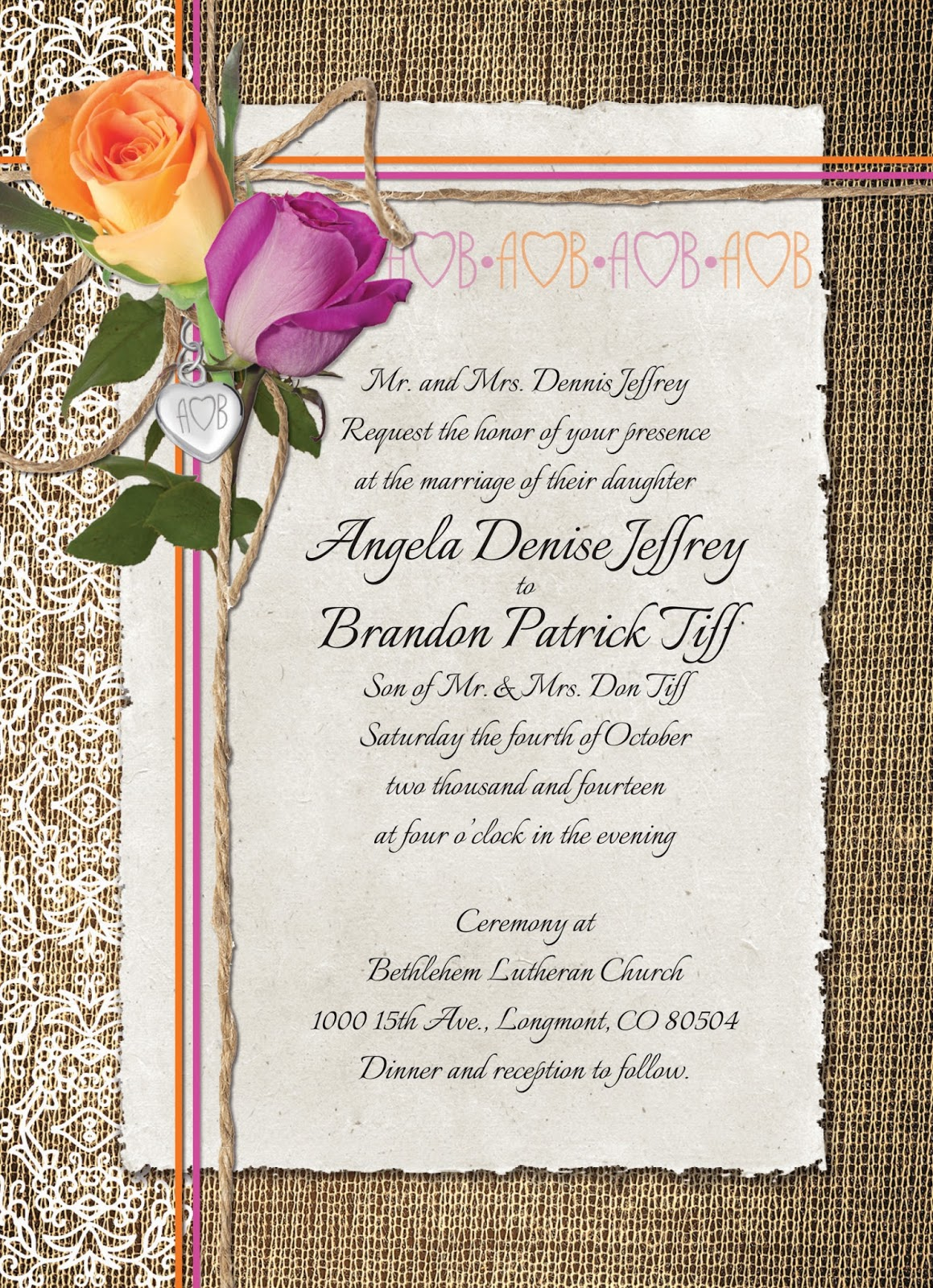 Lola's Type Hype: Angela & Brandon's Wedding Invitation