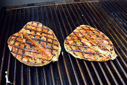 The Saber Grill cooks chicken breasts that are always juicy because of the infrared heat.