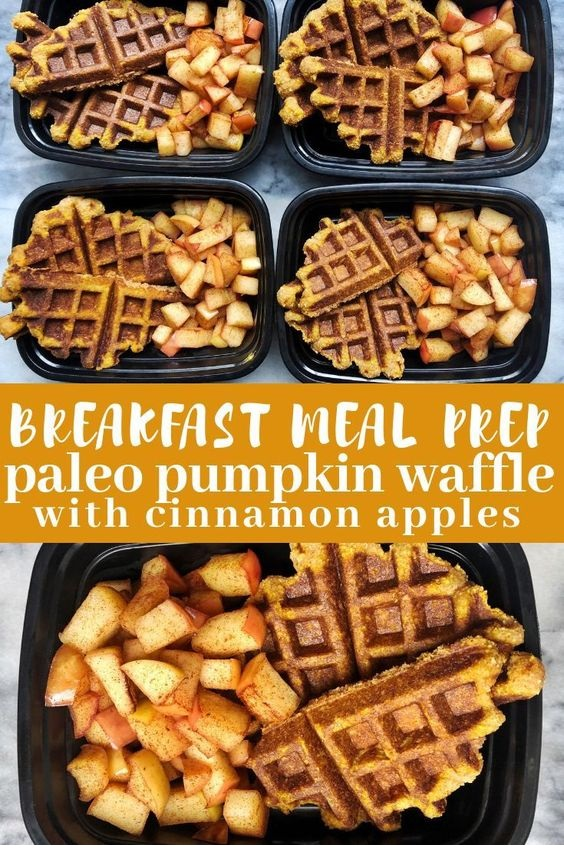 Paleo Pumpkin Waffles And Cinnamon Apples