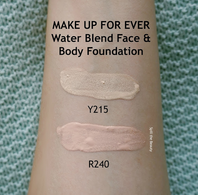 make up for ever water blend face and body foundation y215 r240 review swatches before and after arm swatches