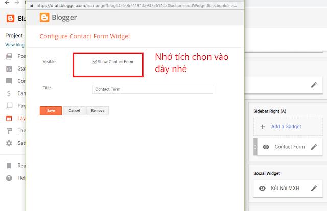Mẫu contact chèn trực tiếp vào bài đăng blogger