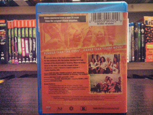 The back cover of Satan's Cheerleaders blu-ray from VCI Entertainment