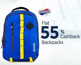 Flat 55% Cashback on American Tourister Backpacks@ Paytm