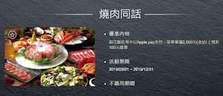 【燒肉同話】信用卡優惠