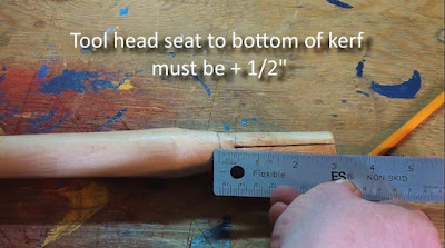 Measuring the seat for axe head compared to handle kerf