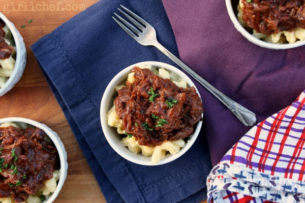 Oxtail Ragú over 4-Cheese Macaroni