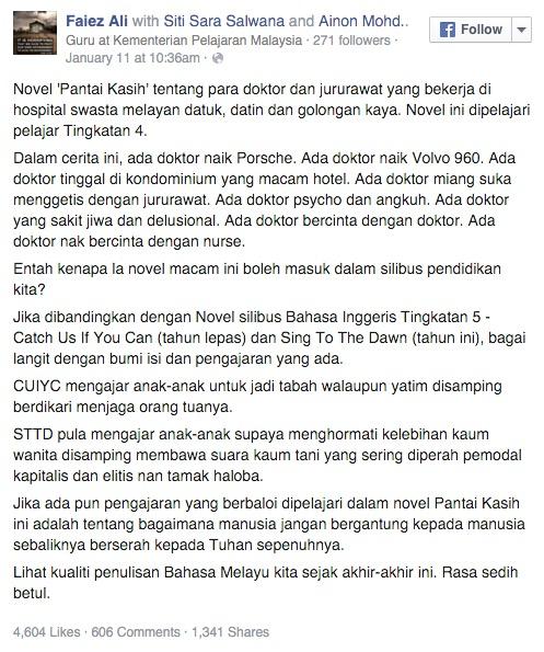 Unsur Lucah Novel Komsas Tingkatan 4, Pantai Kasih