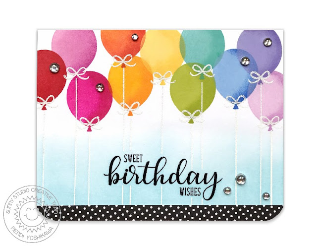 Sunny Studio Stamps: Birthday Balloon Layered Rainbow Sweet Birthday Wishes Card by Mendi Yoshikawa