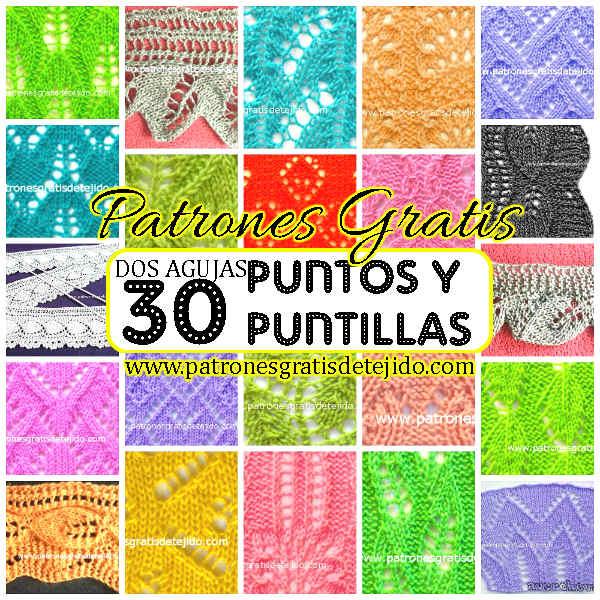 30 Puntos y Puntillas Dos Agujas / Patrones | Crochet y Dos agujas ...