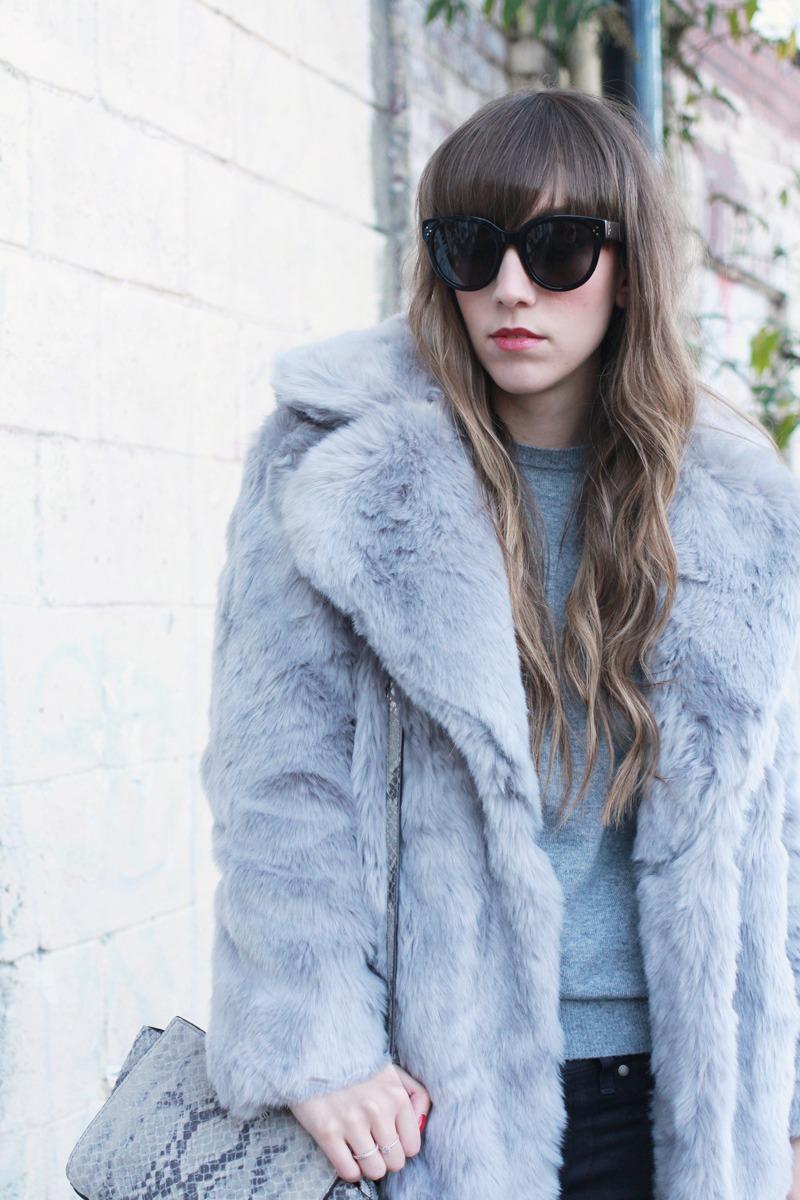 asos whistles fur coat lilac, celine audrey