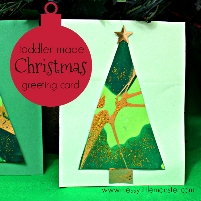 Christmas tree greeting card messy little monster toddler or preschooler made diy christmas tree greeting card easy christmas card craft ideas m4hsunfo