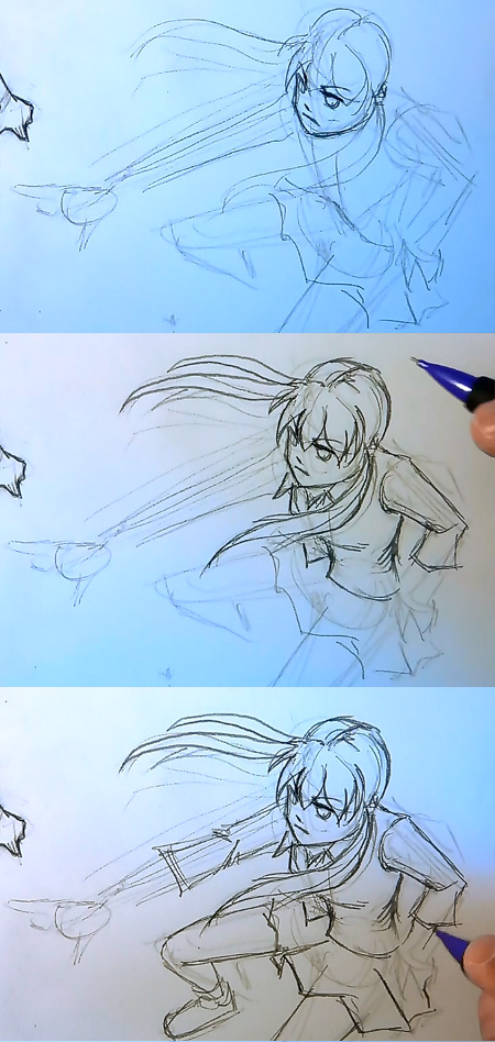 Draw Manga Action Pose Top Down Perspective