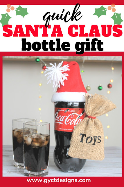 Follow this step by step tutorial to sew your own Santa Hat for your Coca-Cola 2-liter bottle.  Along with some simple tips for a fun family, friend or neighbor gift. #ad #GiftACoke