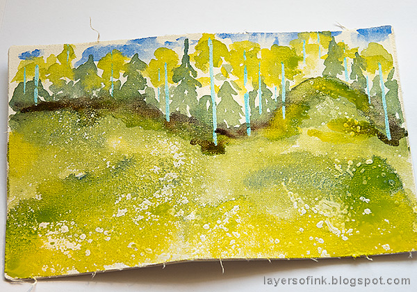Layers of ink - Watercolor Meadow Notebook Tutorial by Anna-Karin Evaldsson. Paint a watercolor meadow.