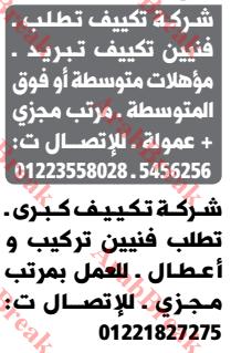 وظائف وسيط الاسكندرية -فنيين تكييف