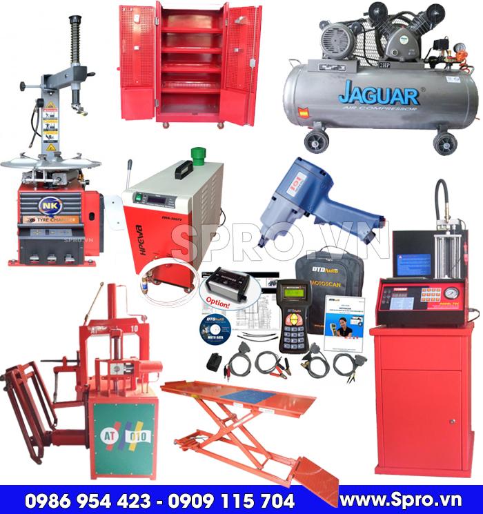 thiết bị sửa xe máy, máy tháo vỏ, bàn nâng, máy nén khí, máy súc béc, máy vệ sinh buồng đốt