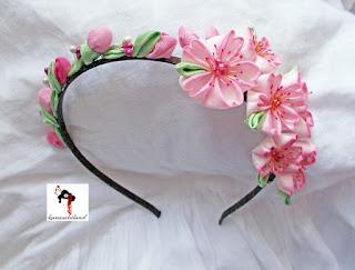kanzashi, flores sakura, flores de cerezo, kanzashiland