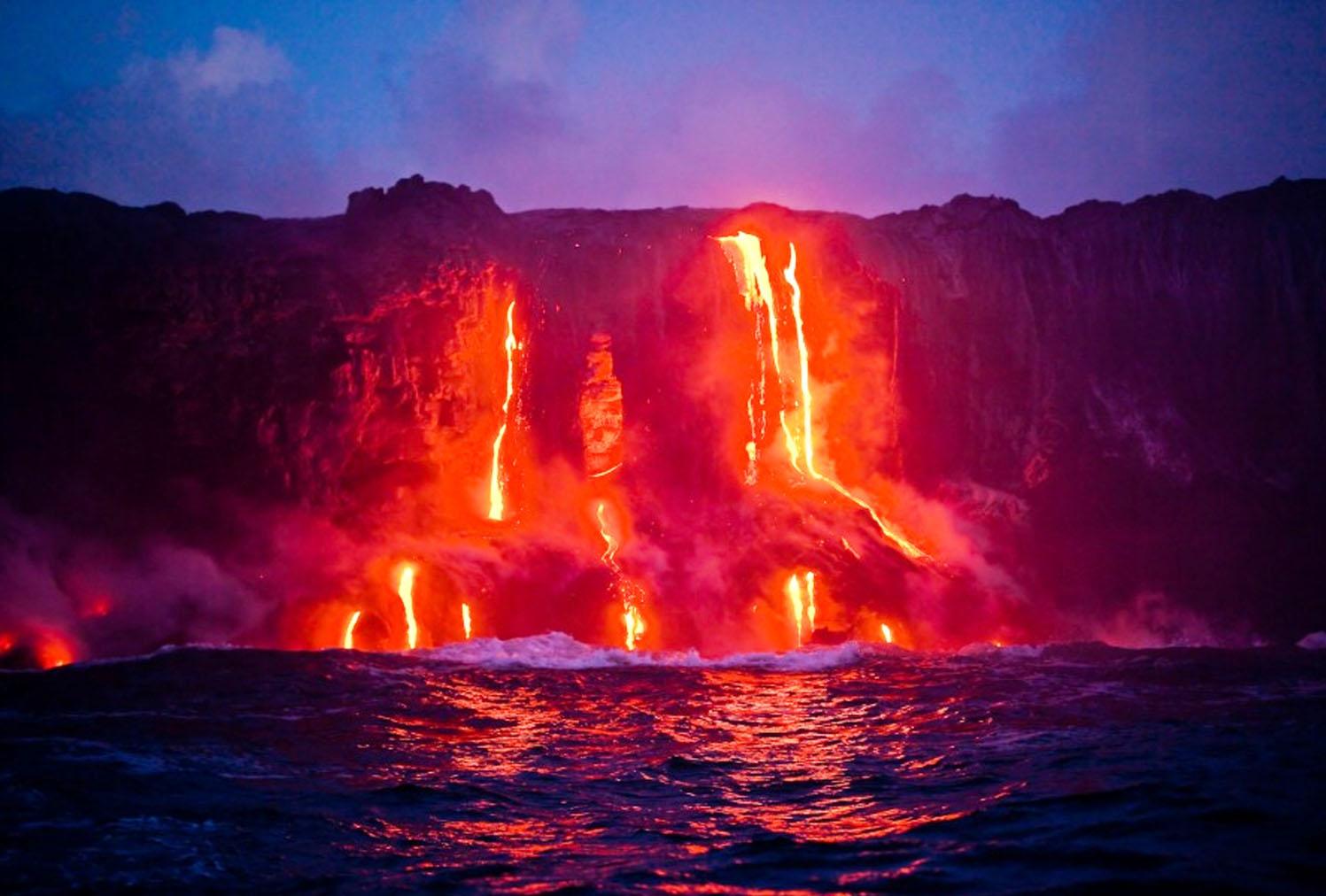 Lava Into Ocean Big Island