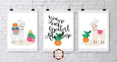 free printable llama wall art