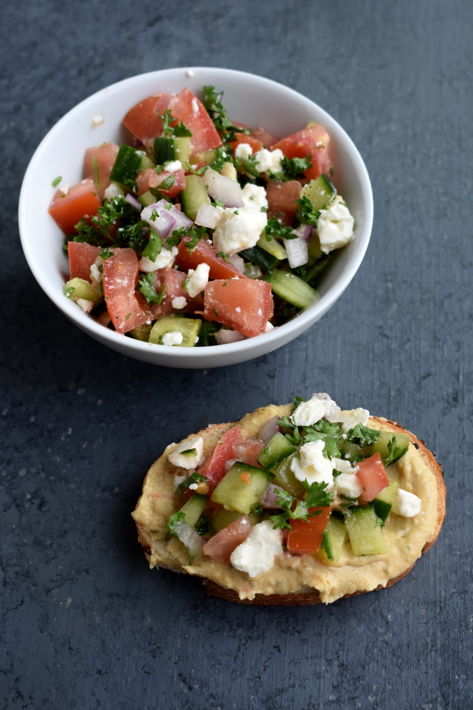 Greek hummus toast