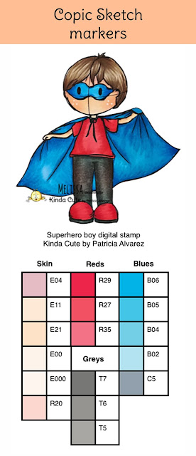 color combinations with copic for superhero boy
