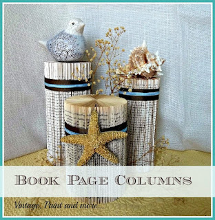 Vintage, Paint and more... deccortive columns made from old discarded paper back books, leftover ribbon pieces and a star fish