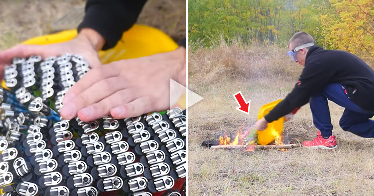 A Man throws 500 Cigarette Lighters into Fire and it's spectacular