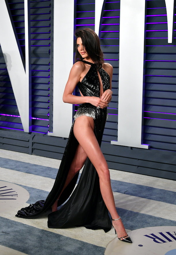 Kendall Jenner is all legs in statement sideless dress at Vanity Fair Oscars party