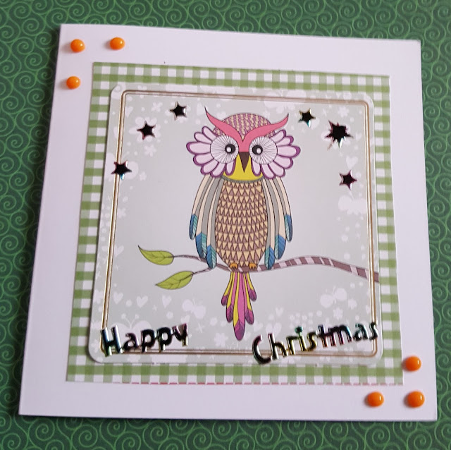 Winter Owl - happy Christmas square card