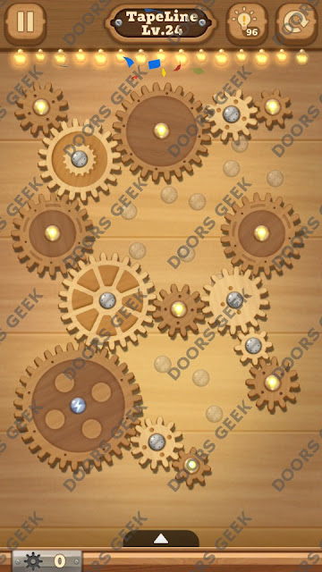 Fix it: Gear Puzzle [TapeLine] Level 24 Solution, Cheats, Walkthrough for Android, iPhone, iPad and iPod
