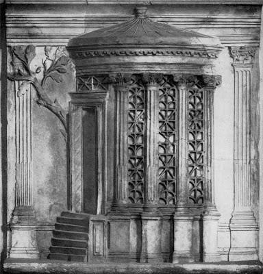 Рельефное изображение храма Весты в галерее Уффици во Флоренции.