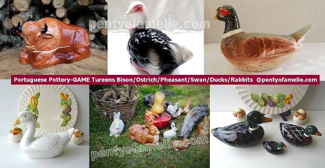 Faience Tureens with Lids, Large Wild Game as Bison, Pink and Black Ostrich, Pheasant, White Swan, Ducks Family, Rabbits.