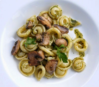 a bowl of mushroom pasta salad with a herby oil dressing