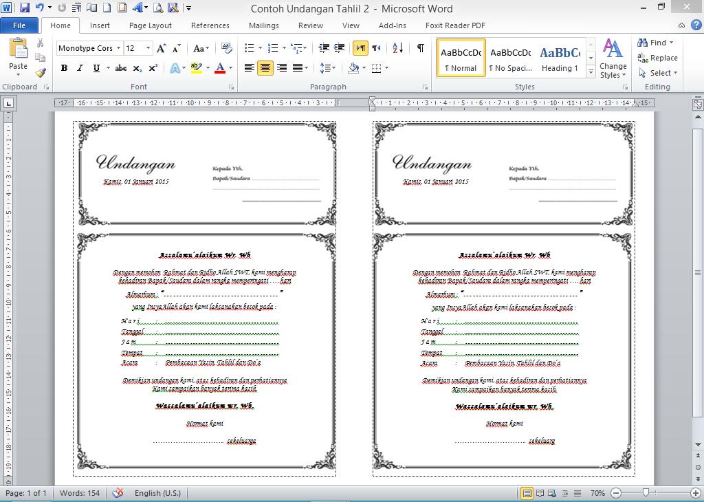Contoh Undangan Tahlil File Microsoft Word Toriqoel