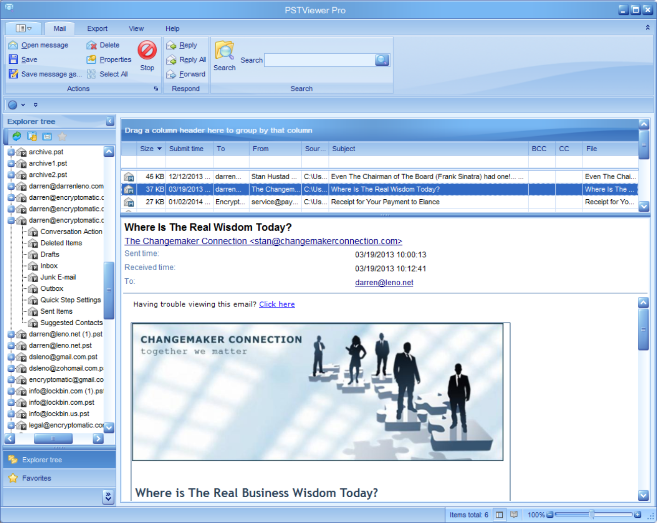 Outlook email viewer, PStViewer Pro, is used for seaching emails in .pst, .msg, and .ost and .eml files.