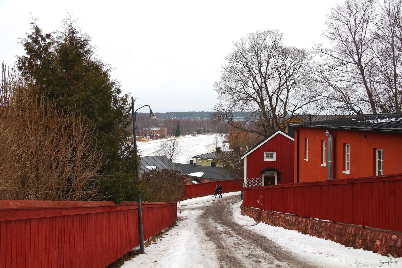 Red Houses and a Street in Porvoo, Finland