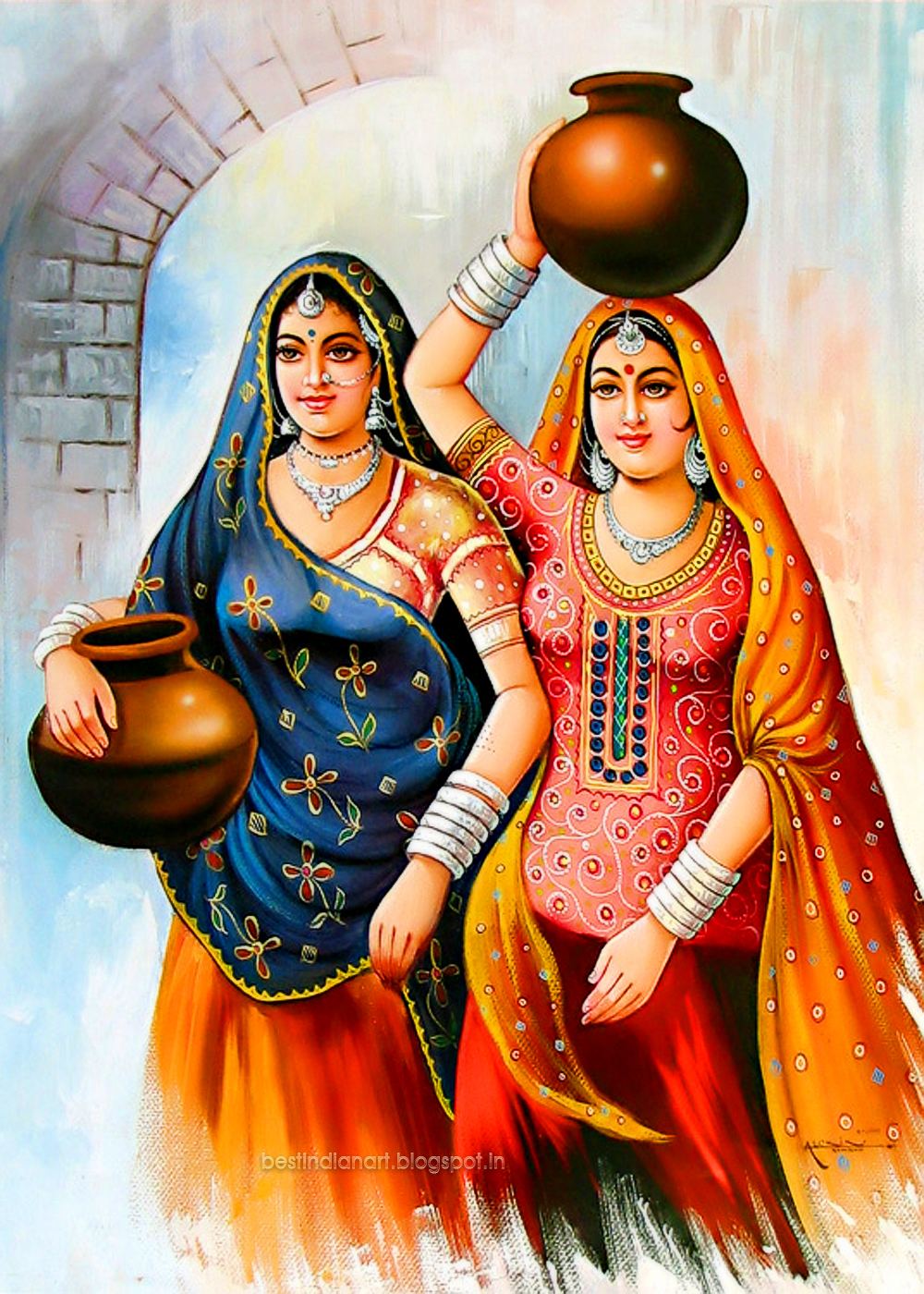 TWO INDIAN VILLAGE WOMAN WITH WATER POT BEST INADIAN ART ...Beautiful Indian Village Paintings