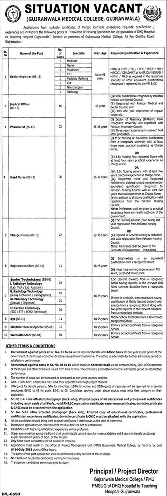 Gujranwala Medical College for July 2018