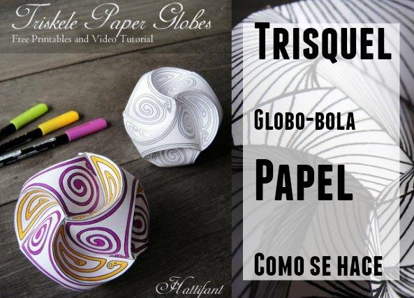 Trisquel bola o globo de papel con zentangles