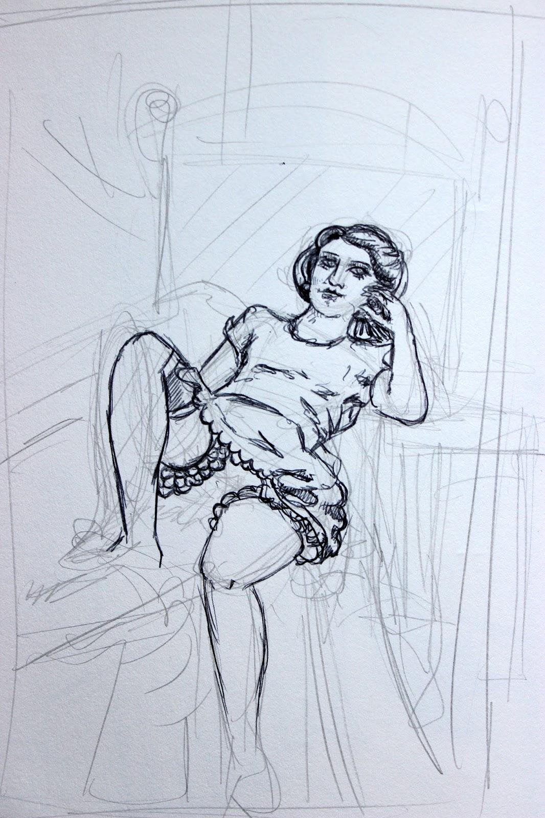 Sketchpad Notebook Sketch Drawing Pencil Pen Girl Knickers