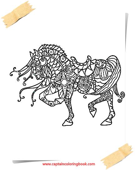 pferde mandala malbuch-horses mandala coloring book - free