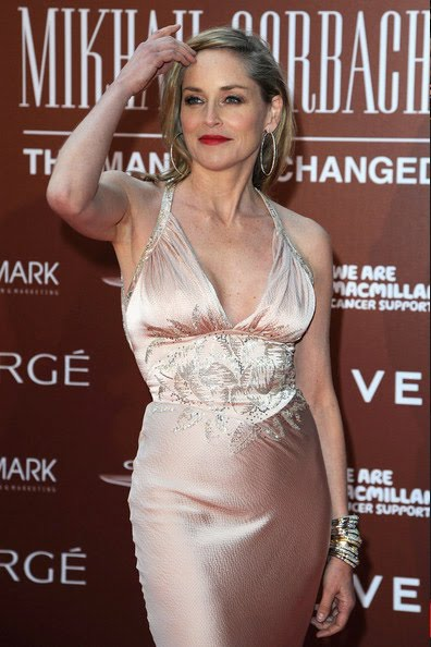 2ad44405cfe7 Sharon Stone attends the Gorby 80 Gala at the Royal Albert Hall in London  in a Christian Dior gown.