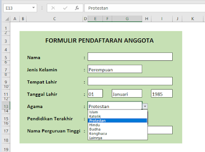 Cara Membuat Menu Drop Down di Excel